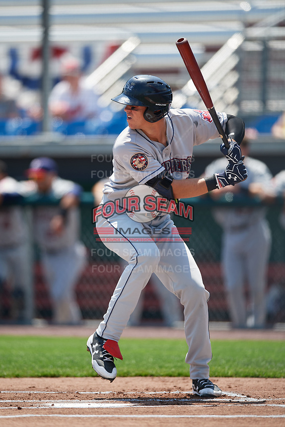 Mahoning Valley Scrappers third baseman Nolan Jones (10) at bat during the first game of a doubleheader against the Auburn Doubledays on July 2, 2017 at Falcon Park in Auburn, New York.  Mahoning Valley defeated Auburn 3-0.  (Mike Janes/Four Seam Images)