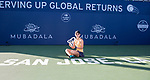 August 4, 2019: Saisai Zheng (CHN) poses with the trophy after she defeated Aryna Sabalenka (BLR) 6-3, 7-6 in the finals of the Mubadala Silicon Valley Classic at San Jose State in San Jose, California. ©Mal Taam/TennisClix/CSM