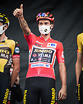 Race leader Red Jersey Primoz Roglic (SLO) Jumbo-Visma at sign on before Stage 18 of La Vuelta d'Espana 2021, running 162.6km from Salas to Alto del Gamoniteiru, Spain. 2nd September 2021.   <br /> Picture: Unipublic/Charly Lopez   Cyclefile<br /> <br /> All photos usage must carry mandatory copyright credit (© Cyclefile   Charly Lopez/Unipublic)