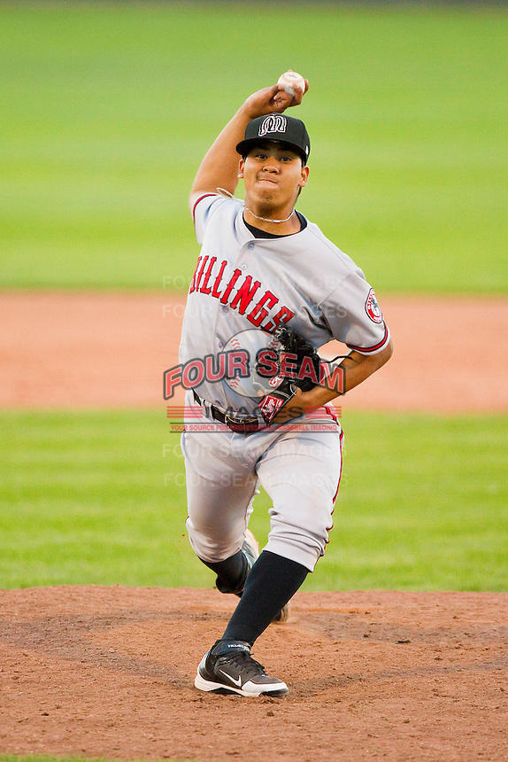 Billings Mustangs relief pitcher Alejandro Chacin (47) in action against the Orem Owlz at Brent Brown Ballpark on July 22, 2012 in Orem, Utah.  The Mustangs defeated the Owlz 13-8.  (Brian Westerholt/Four Seam Images)