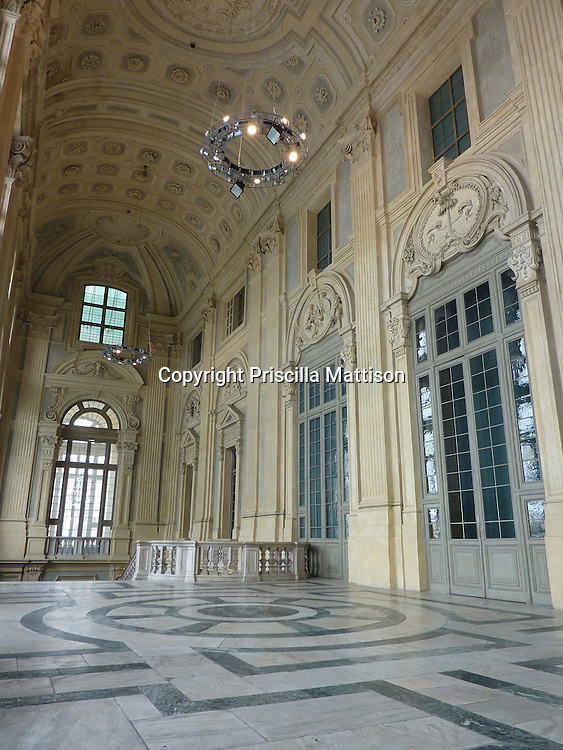 Turin, Italy - February 4, 2012:  The second floor hall of the Palazzo Madama is light even in winter.