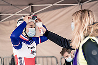 Audrey Cordon-Ragot (FRA/Trek-Segafredo) getting her temperature checked at the race start<br /> <br /> AG Driedaagse Brugge-De Panne 2020 (1.WWT)<br /> 1 day race from Brugge to De Panne (156km) <br /> <br /> ©kramon