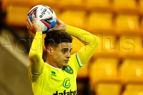 3rd November 2020; Carrow Road, Norwich, Norfolk, England, English Football League Championship Football, Norwich versus Millwall; Max Aaron of Norwich City takes a throw-in