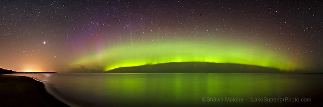 Northern Lights aurora borealiz multi colored curtain over Lake Superior, Marquette M. Epson International Pano Bronze Award Winner, 2012