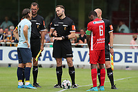 Assistant referee Patrick Vandenberghe, referee Tom Stevens and assistant referee Maxime Borremans pictured with captain Casper Nielsen (6) of Union (L) and captain Jonathan Lusadusu (6) of Tempo (R)  before a preseason friendly soccer game between Tempo Overijse and Royale Union Saint-Gilloise, Saturday 29th of June 2021 in Overijse, Belgium. Photo: SPORTPIX.BE   SEVIL OKTEM