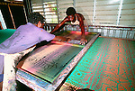 Tiwi silkscreen artisans producing popularly recognized printwork, Bathurst Island, Australia