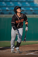 Modesto Nuts shortstop Bryson Brigman (8) starts down the first base line during a California League game against the San Jose Giants at San Jose Municipal Stadium on May 15, 2018 in San Jose, California. Modesto defeated San Jose 7-5. (Zachary Lucy/Four Seam Images)