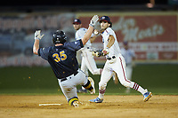 High Point-Thomasville HiToms shortstop Ethan Murray (2) (Duke) holds on to the baseball after forcing out Brady Garrison (35) (Marshall University) of the Wilson Tobs at second base at Finch Field on July 17, 2020 in Thomasville, NC. The Tobs defeated the HiToms 2-1. (Brian Westerholt/Four Seam Images)