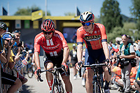 2 fellow Aussies at the race start in Saint-Dié-des-Vosges: Michael Matthews (AUS/Sunweb) & Rohan Dennis (AUS/Bahrein-Merida)<br /> <br /> Stage 5: Saint-Dié-des-Vosges to Colmar (175km)<br /> 106th Tour de France 2019 (2.UWT)<br /> <br /> ©kramon