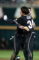 Mississippi State Bulldogs third baseman Marshall Gilbert (34) celebrates driving in the walk-off run during Game 4 of the NCAA College World Series against the Auburn Tigers on June 16, 2019 at TD Ameritrade Park in Omaha, Nebraska. Mississippi State defeated Auburn 5-4. (Andrew Woolley/Four Seam Images)