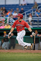 Batavia Muckdogs first baseman J.D. Osborne (23) follows through on a swing during a game against the West Virginia Black Bears on June 19, 2018 at Dwyer Stadium in Batavia, New York.  West Virginia defeated Batavia 7-6.  (Mike Janes/Four Seam Images)