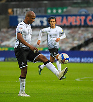 31st October 2020; Liberty Stadium, Swansea, Glamorgan, Wales; English Football League Championship Football, Swansea City versus Blackburn Rovers; Andre Ayew of Swansea City controls the ball