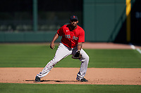 Boston Red Sox first baseman Josh Ockimey (76) during a Major League Spring Training game against the Atlanta Braves on March 7, 2021 at CoolToday Park in North Port, Florida.  (Mike Janes/Four Seam Images)