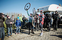 Greg Van Avermaet (BEL/BMC) is stuck with a mechanical on the 1st passage of the Haaghoek and needs to wait a while for the tramcar to reach him<br /> <br /> Omloop Het Nieuwsblad 2015
