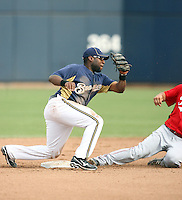 Zelous Wheeler #75 of the Milwaukee Brewersplays in a spring training game against the Cincinnati Reds at Maryvale Stadium on March 20, 2011  in Phoenix, Arizona. .Photo by:  Bill Mitchell/Four Seam Images.