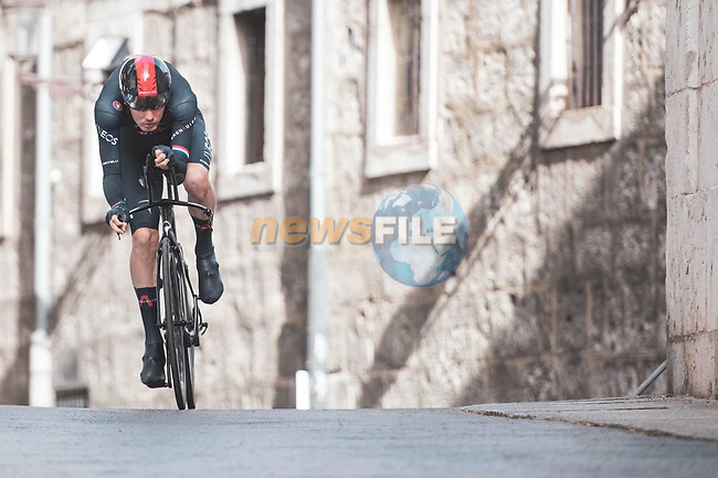 Dylan Van Baarle (NED) Ineos Grenadiers in action during Stage 1 of La Vuelta d'Espana 2021, a 7.1km individual time trial around Burgos, Spain. 14th August 2021. <br /> Picture: Unipublic/Charly Lopez | Cyclefile<br /> <br /> All photos usage must carry mandatory copyright credit (© Cyclefile | Unipublic/Charly Lopez)
