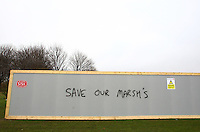 """Graffiti is seen on the South Marsh at Hackney """"Save our Marsh's (sic)"""" - Areas of the Marshes are set to be used for parking at the 2012 Olympics - Hackney & Leyton League football at South Marsh, Hackney - 14/02/10 - MANDATORY CREDIT: Gavin Ellis/TGSPHOTO - Self billing applies where appropriate - Tel: 0845 094 6026"""