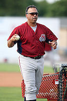 July 4th 2008:  Coach Rafael Montalvo of the Hudson Valley Renegades, Class-A affiliate of the Tampa Bay Rays, during a game at Dwyer Stadium in Batavia, NY.  Photo by:  Mike Janes/Four Seam Images