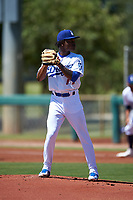AZL Dodgers Lasorda starting pitcher Israiky Berroa (77) during an Arizona League game against the AZL Royals on July 4, 2019 at Camelback Ranch in Glendale, Arizona. The AZL Royals defeated the AZL Dodgers Lasorda 4-1. (Zachary Lucy/Four Seam Images)