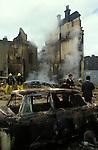 Brixton Riots. South London Uk April 1981. Burntout destroyed building.