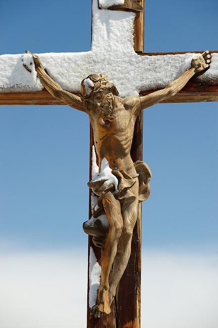 Crucifix on the peak of The little Matterhorn , Zermatt ,