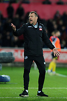 Gary Rowett Manager of Millwall reacts during the Sky Bet Championship match between Swansea City and Millwall at the Liberty Stadium in Swansea, Wales, UK. Saturday 23rd November 2019
