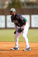 Charlotte 49ers second baseman Mikal Hill (8) on defense against the Canisius Golden Griffins at Hayes Stadium on February 23, 2014 in Charlotte, North Carolina.  The Golden Griffins defeated the 49ers 10-1.  (Brian Westerholt/Four Seam Images)