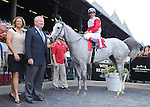 Hit It Rich (no. 1), ridden by Javier Castellano and trained by Claude McGaughey III, wins the 17th running of the grade 3 Glens Falls Stakes for fillies and mares three years old and upward on September 3, 2012 at Saratoga Race Track in Saratoga Springs, New York.  (Bob Mayberger/Eclipse Sportswire)