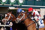 April 03, 2021:  #5 Malathaat and jockey Joel Rosario (outside) win the 84th running of the Central Bank Ashland Grade 1 $400,000 for owner Shadwell Stable and trainer Todd Pletcher over #2 Pass the Champagne riddern by Javier Castellano at Keeneland Racecourse in Lexington, KY on April 03, 2021.  Candice Chavez/ESW/CSM