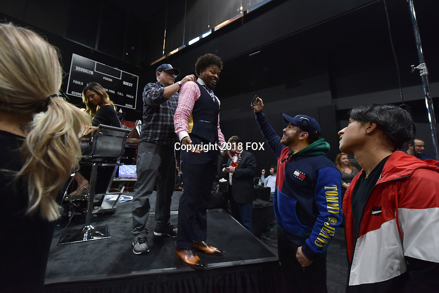 BROOKLYN, NY - DECEMBER 21: Sports broadcast commentators Shawn Porter attends the Fox Sports and Premier Boxing Champions official weigh-in for the December 22 Fox PBC Fight Night at the Barclay Center on December 21, 2018 in Brooklyn, New York. (Photo by Anthony Behar/Fox Sports/PictureGroup)