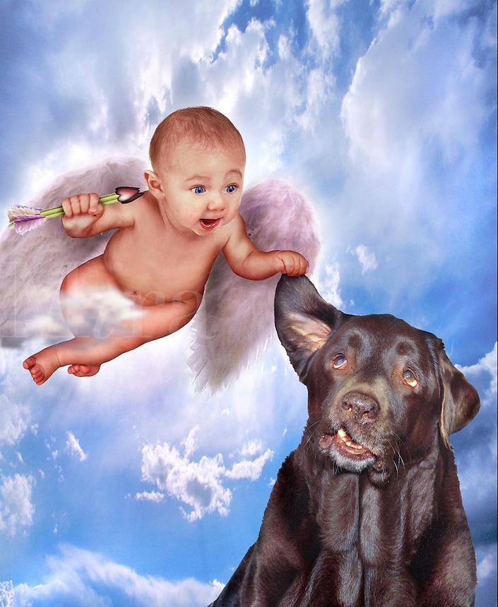 Cherub with a dog.
