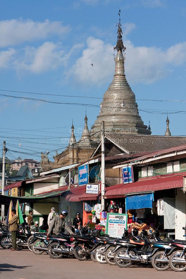 Myanmar, Burma.  Kalaw Street Scene.  Aung Chan Thar Zedi Stupa in rear.
