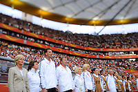 Coach Silvia Neid (l) of team Germany during the FIFA Women's World Cup at the FIFA Stadium in Frankfurt, Germany on June 30th, 2011.