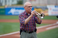 Erie SeaWolves national anthem performance before an Eastern League game against the Altoona Curve on June 5, 2019 at UPMC Park in Erie, Pennsylvania.  Altoona defeated Erie 6-2.  (Mike Janes/Four Seam Images)