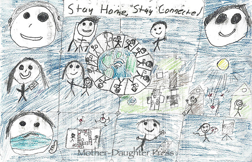 """""""Stay Home, Stay Connected"""" Drawing by Mathieu Charrette, Grade 7, Yarmouth, ME, USA"""