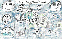 """Stay Home, Stay Connected"" Drawing by Mathieu Charrette, Grade 7, Yarmouth, ME, USA"