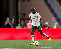 Foxborough, Massachusetts - September 1, 2018: In a Major League Soccer (MLS) match, New England Revolution (blue/white) tied Portland Timbers (white/green), 1-1, at Gillette Stadium.