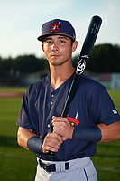 State College Spikes center fielder Scott Hurst (7) poses for a photo before a game against the Auburn Doubledays on August 21, 2017 at Falcon Park in Auburn, New York.  Auburn defeated State College 6-1.  (Mike Janes/Four Seam Images)