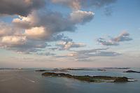 Boston harbor, aerial, Dorchester, MA sunset