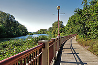 The biking and walking trail running by the Willamette River in Eugene, Oregon.