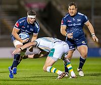 20th November 2020; AJ Bell Stadium, Salford, Lancashire, England; English Premiership Rugby, Sale Sharks versus Northampton Saints; Dan du Preez of Sale Sharks is tackled by Tom Wood of Northampton Saints