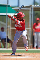 GCL Cardinals second baseman Edwin Figuera (3) at bat during the second game of a doubleheader against the GCL Marlins on August 13, 2016 at Roger Dean Complex in Jupiter, Florida.  GCL Cardinals defeated GCL Marlins 2-0.  (Mike Janes/Four Seam Images)
