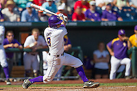 Louisiana State first baseman Mason Katz (8) follows through on his swing against the North Carolina Tar Heels during Game 7 of the 2013 Men's College World Series on June 18, 2013 at TD Ameritrade Park in Omaha, Nebraska. The Tar Heels defeated the Tigers 4-2, eliminating LSU from the tournament. (Andrew Woolley/Four Seam Images)