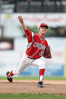 Batavia Muckdogs pitcher Steven Farnworth (31) delivers a pitch during the second game of a doubleheader against the Connecticut Tigers on July 20, 2014 at Dwyer Stadium in Batavia, New York.  Connecticut defeated Batavia 2-0.  (Mike Janes/Four Seam Images)