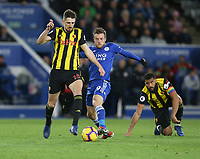 Watford's Craig Cathcart and Leicester City's Jamie Vardy <br /> <br /> Photographer Stephen White/CameraSport<br /> <br /> The Premier League - Leicester City v Watford - Saturday 1st December 2018 - King Power Stadium - Leicester<br /> <br /> World Copyright © 2018 CameraSport. All rights reserved. 43 Linden Ave. Countesthorpe. Leicester. England. LE8 5PG - Tel: +44 (0) 116 277 4147 - admin@camerasport.com - www.camerasport.com