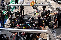9th September 2021; Nationale di Monza, Monza, Italy; FIA Formula 1 Grand Prix of Italy, Driver arrival and inspection day:  Mercedes AMG Petronas F1 Team during pit stop practice
