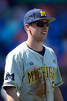 Michigan Wolverines infielder Travis Maezes #9 during an exhibition game against the New York Mets at Tradition Field on February 24, 2013 in St. Lucie, Florida.  New York defeated Michigan 5-2.  (Mike Janes/Four Seam Images)