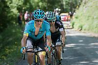 (eventual stage winner) Jakob Fuglsang (DEN/Astana) up the Mont du Chat (HC/1504m/8.7km/10.3%)<br /> <br /> Stage 6: Le parc des oiseaux/Villars-Les-Dombes › La Motte-Servolex (147km)<br /> 69th Critérium du Dauphiné 2017
