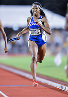 May 25, 2013: Paris Daniels of Kansas #1695 runs the anchor leg of 4x400 relay quarterfinal heat three for a second place during NCAA Outdoor Track & Field Championships West Preliminary at Mike A. Myers Stadium in Austin, TX.