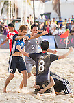 OBA Takaaki of Japan celebrates with teammates during the Beach Soccer Men's Team Gold Medal Match between Japan vs Oman on Day Nine of the 5th Asian Beach Games 2016 at Bien Dong Park on 02 October 2016, in Danang, Vietnam. Photo by Marcio Machado / Power Sport Images